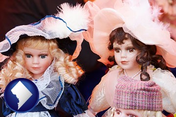 collectible vintage dolls - with Washington, DC icon