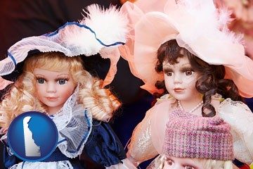 collectible vintage dolls - with Delaware icon