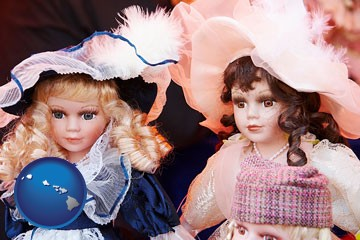 collectible vintage dolls - with Hawaii icon