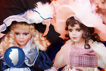 collectible vintage dolls - with Illinois icon