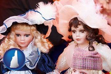 collectible vintage dolls - with New Hampshire icon