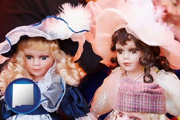 collectible vintage dolls - with New Mexico icon