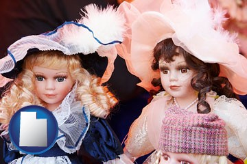 collectible vintage dolls - with Utah icon
