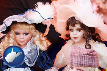 collectible vintage dolls - with West Virginia icon