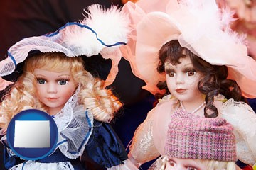 collectible vintage dolls - with Wyoming icon